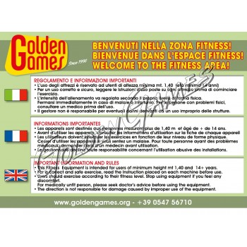 CARTELLO REGOLAMENTO AREA FITNESS ( ITA/FRA/ENG )